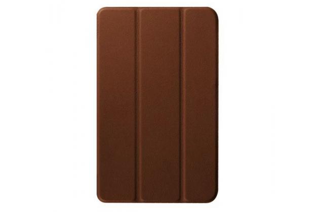 """Фирменный умный чехол самый тонкий в мире для планшета Acer One 8 B1-820/821/B1-830 """"Il Sottile"""" коричневый кожаный"""