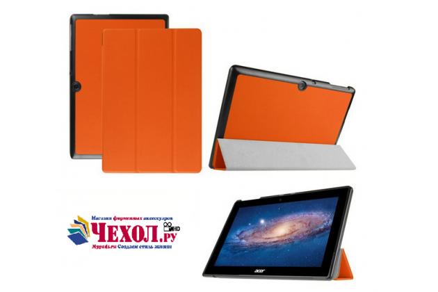 """Фирменный умный чехол-книжка самый тонкий в мире для Acer Iconia Tab A3-A30/A31 """"Il Sottile"""" оранжевый кожаный"""