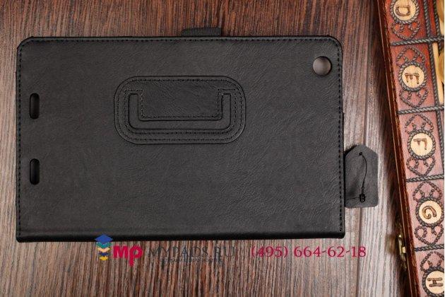 """Фирменный чехол обложка для Acer Iconia Tab One B1-730/B7-731HD с визитницей и держателем для руки черный натуральная кожа """"Prestige"""" Италия"""