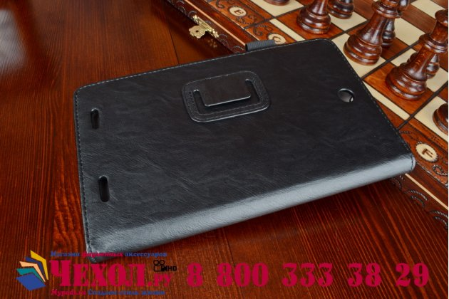 """Фирменный чехол обложка для Acer Iconia Tab 8W W1-810 с визитницей и держателем для руки черный натуральная кожа """"Prestige"""" Италия"""