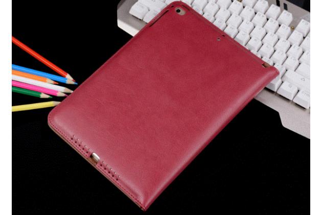 Фирменный премиальный чехол бизнес класса для iPad2/3/4 с визитницей из качественной импортной кожи малиновый