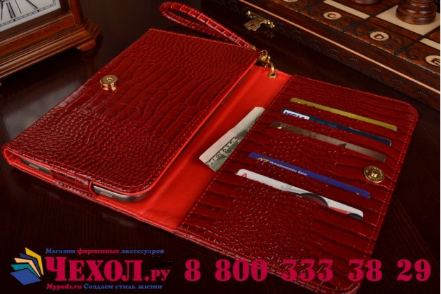 Фирменный роскошный эксклюзивный чехол-клатч/портмоне/сумочка/кошелек из лаковой кожи крокодила для планшетов Iconia Tab WT5. Только в нашем магазине. Количество ограничено.