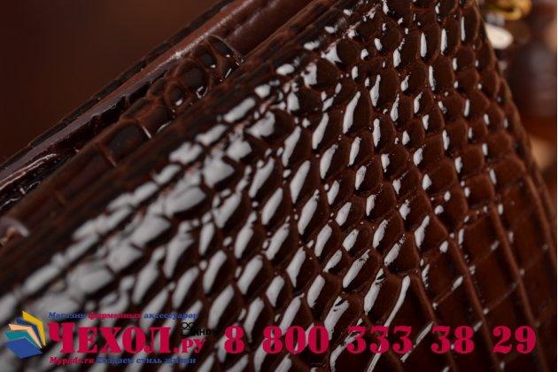 Фирменный роскошный эксклюзивный чехол-клатч/портмоне/сумочка/кошелек из лаковой кожи крокодила для планшетов Acer Iconia One B3-A10. Только в нашем магазине. Количество ограничено.