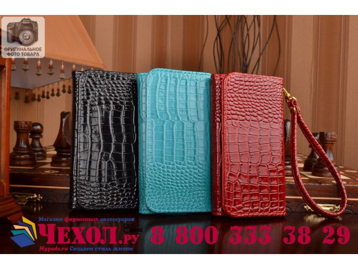 Фирменный роскошный эксклюзивный чехол-клатч/портмоне/сумочка/кошелек из лаковой кожи крокодила для телефона O..