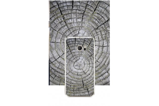 """Фирменная задняя панель-крышка-накладка из тончайшего и прочного силикона для HTC 10 / HTC One M10 / Lifestyle 10 5.2"""" серое дерево"""