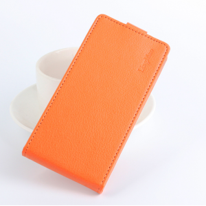 """Фирменный вертикальный откидной чехол-флип для Lenovo Vibe C (A2020 / A2020a40 Dual Sim /A3910 ) 5.0"""" оранжевый"""