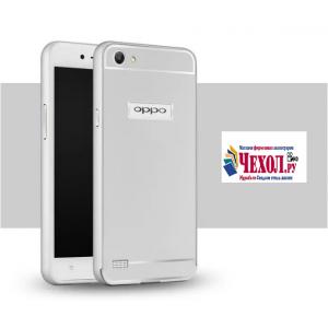"""Фирменная металлическая задняя панель-крышка-накладка из тончайшего облегченного авиационного алюминия для Oppo Neo 7"""" серебряная"""