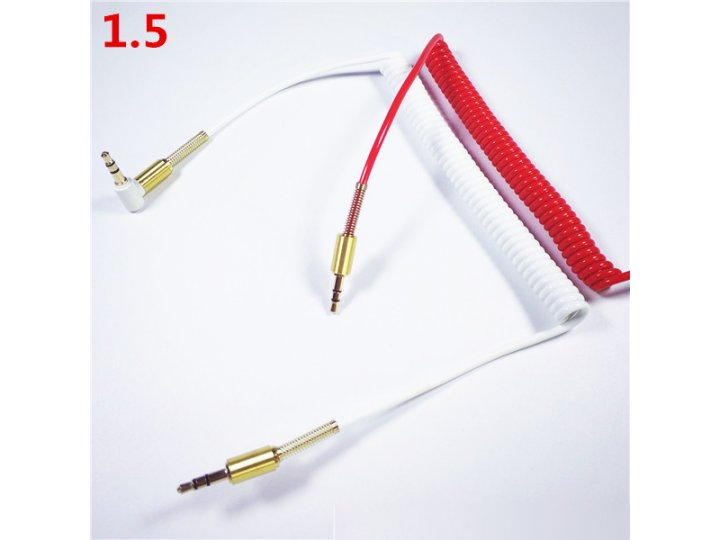 Фирменный аудио-кабель AUX jack 3.5 (m) - jack 3.5 (m) (г-образный) 1,5м с защитой от перегиба возле штекера