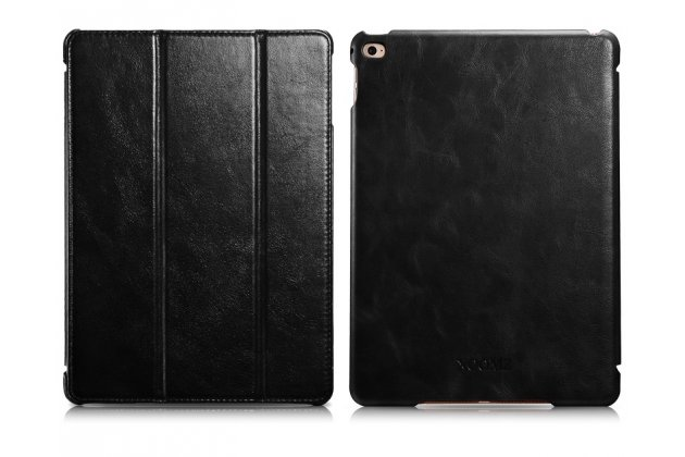 """Фирменный премиальный чехол бизнес класса для iPad Air 2 с визитницей из качественной импортной кожи """"Ретро"""" черный"""