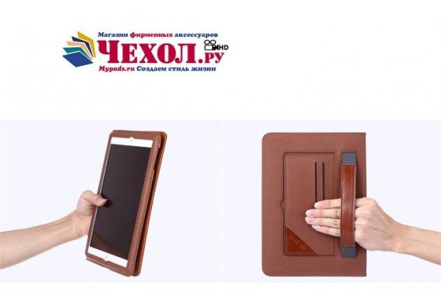 Фирменный премиальный чехол бизнес класса для iPad Air 2 с визитницей из качественной импортной кожи коричневый