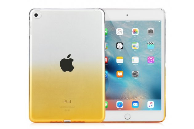 Фирменная ультра-тонкая полимерная задняя панель-чехол-накладка из силикона для iPad Air 2 прозрачная с эффектом песка