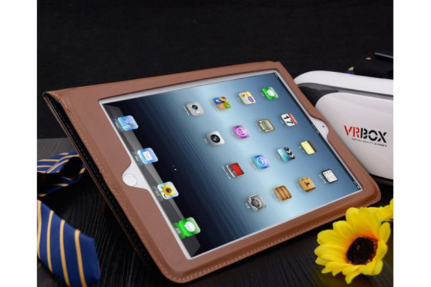 Фирменный премиальный чехол бизнес класса для iPad Air 2 с визитницей из качественной импортной кожи черный