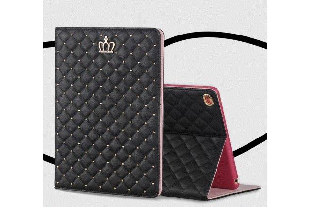 Стёганная кожа в ромбик с узором чехол-обложка для iPad Air 2 цвет черный кожаный