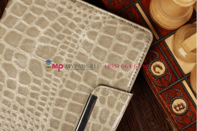 Лаковая блестящая кожа под крокодила чехол-книжка для iPad Mini серый